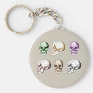 6 Skulls Colors Basic Round Button Keychain