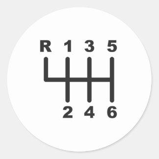 6 Speed Shift Gate Classic Round Sticker