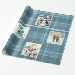 6 Square Photo Blue Plaid Wrapping Paper