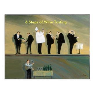 6 Steps of Wine Tasting Postcard