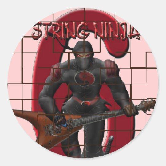6 string ninja classic round sticker