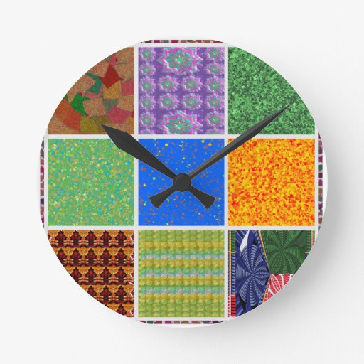 6 TEMPLATE Colored easy to ADD TEXT and IMAGE gift Round Clocks
