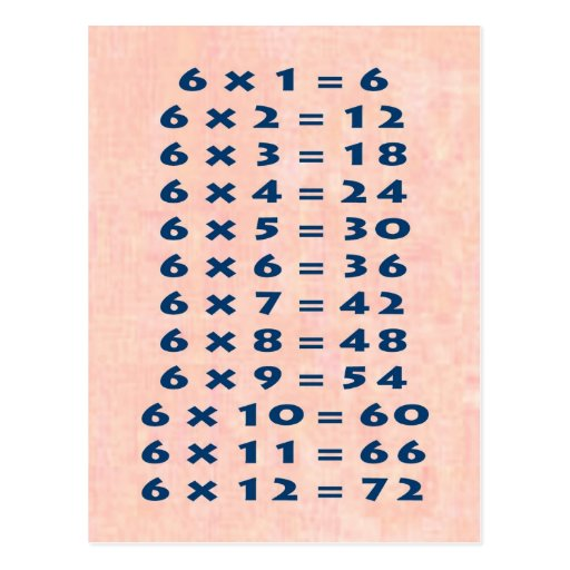 Times table collectible postcard for Table 6 multiplication