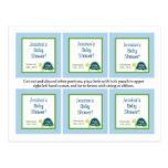 6 tortugas de mar azules de las etiquetas del favo postales
