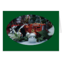 6 toy tractors at christmas card
