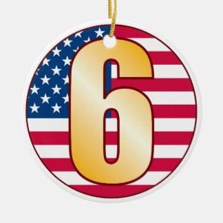 6 USA Gold Ceramic Ornament