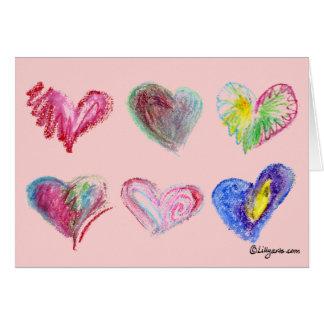 6 Valentine Hearts Greeting Card