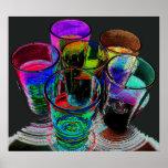 6 vasos de medida coloreados del cóctel - estilo 1 poster