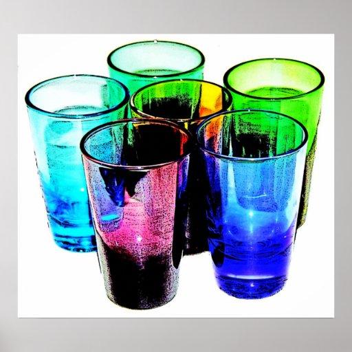 6 vasos de medida coloreados del cóctel - estilo 1 póster
