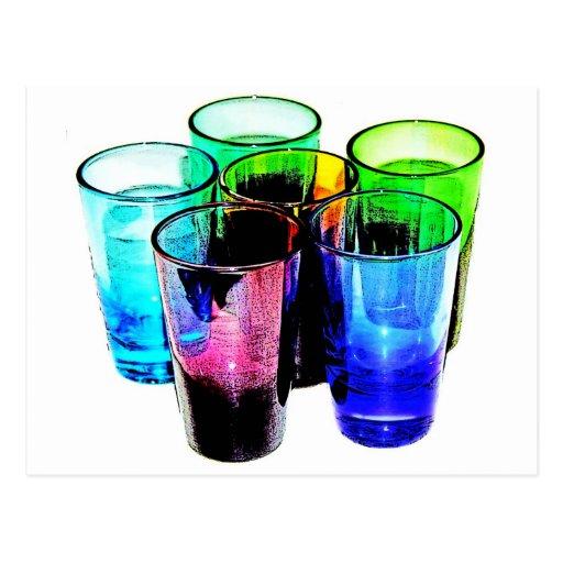 6 vasos de medida coloreados del cóctel - estilo 1 tarjetas postales