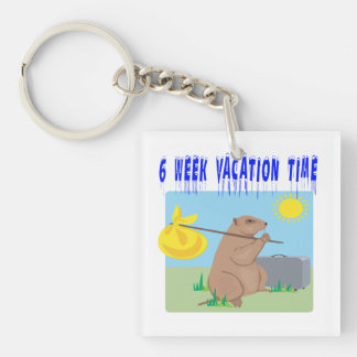 6 Week Vacation Time 2 Double-Sided Square Acrylic Keychain