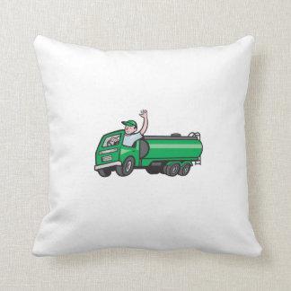 6 Wheeler Tanker Truck Driver Waving Cartoon Throw Pillow