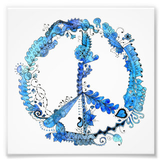 6 x 6  Illustrated Pen Peace Sign Blue Photo Print