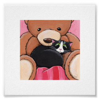 """6"""" x 6"""" Whimsical Cat Art   Cat on Bed Poster"""