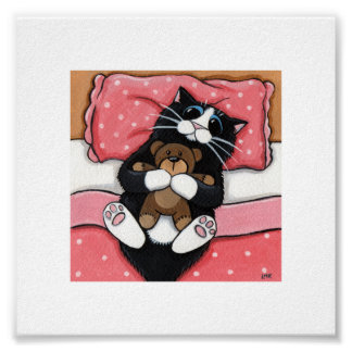 """6"""" x 6""""   Whimsical Cat Art   Cat with Teddy Poster"""