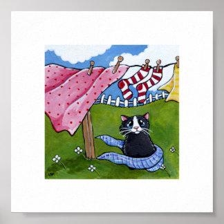 """6"""" x gato caprichoso del día del lavado del arte póster"""