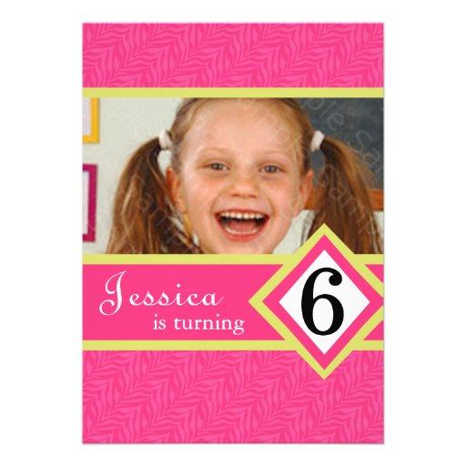 """6 Year Old Birthday Party Invitations Zebra GIRL 5"""" X 7"""
