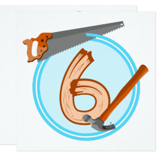 6 year old boy builder tools birthday design card
