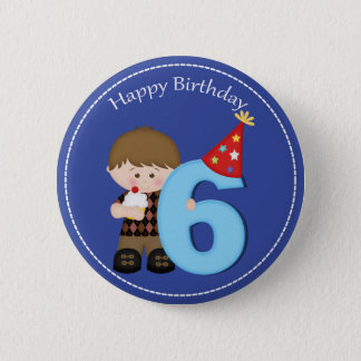6 year old boys Happy Birthday Button