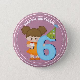 6 year old girl Birthday Button