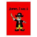 6 year old pirate boy greeting card