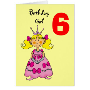 6 year old cards greeting photo cards zazzle 6 year old princess blonde hair card bookmarktalkfo Choice Image