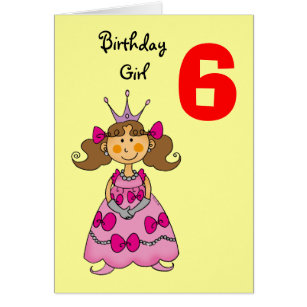 6 year old birthday cards greeting photo cards zazzle 6 year old princess brown hair card bookmarktalkfo Image collections