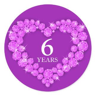 6 years amethyst anniversary heart sticker