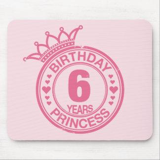 6 years - Birthday Princess - pink Mouse Pad