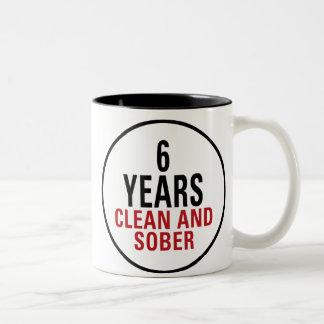 6 Years Clean and Sober Two-Tone Coffee Mug