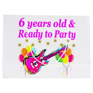 6 YEARS OLD AND READY TO PARTY ROCK STAR DESIGN LARGE GIFT BAG