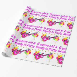 6 YEARS OLD AND READY TO PARTY ROCK STAR DESIGN WRAPPING PAPER