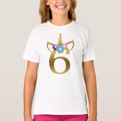 6 years old Unicorn Birthday Girl for Kids T_Shirt