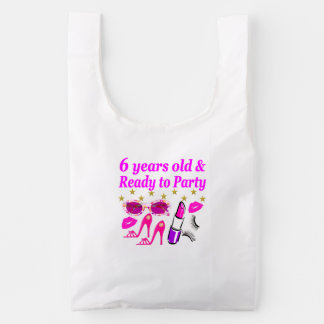 6 YRS OLD AND READY TO PARTY PRINCESS DESIGN REUSABLE BAG