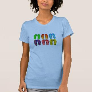 6 zapatos coloridos de la playa de los flips-flope camisetas