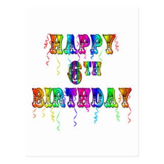 6ta fuente feliz del circo del cumpleaños postal