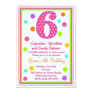 6ta invitación del cumpleaños de la sorpresa dulce