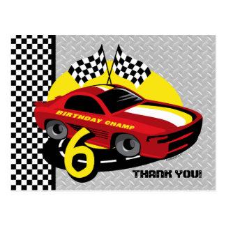 6ta postal del cumpleaños del coche de carreras