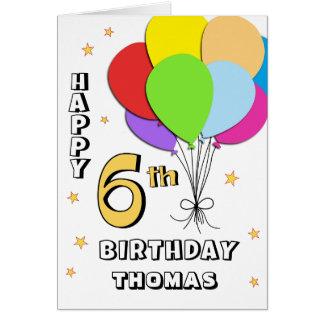 6ta tarjeta de cumpleaños llenada globo