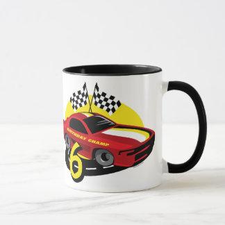 6ta taza del cumpleaños del coche de carreras