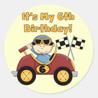 6tas camisetas y regalos del cumpleaños del coche pegatina redonda