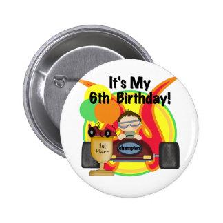 6tas camisetas y regalos del cumpleaños del coche  pin redondo de 2 pulgadas
