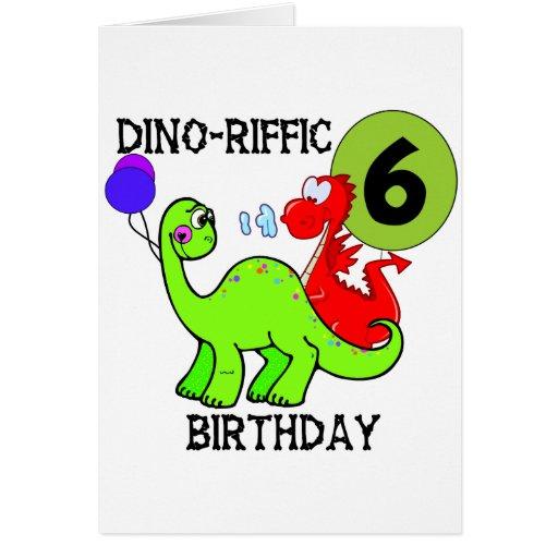 6tas camisetas y regalos del cumpleaños del dinosa felicitacion