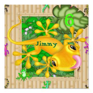 """6tas invitaciones del Gecko del cumpleaños del Invitación 5.25"""" X 5.25"""""""