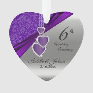 6th Amethyst Wedding Anniversary Ornament