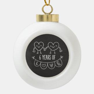 6th Anniversary Gift Chalk Hearts Ceramic Ball Christmas Ornament