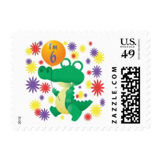 6th Birthday Alligator Postage Stamp