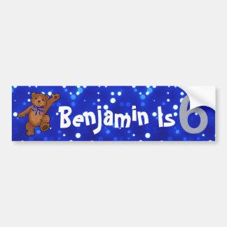 6th Birthday Bear Car Bumper Sticker