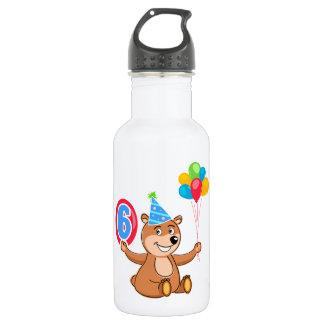 6th Birthday Bear Theme 18oz Water Bottle