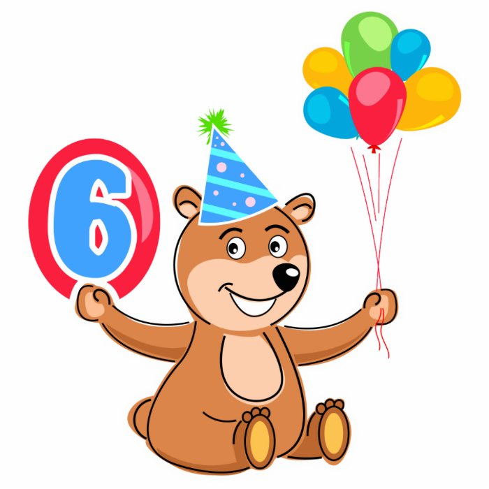 6th Birthday Bear Theme Statuette